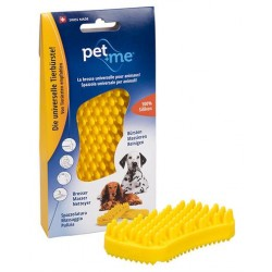 Brosse Silicone jaune pour chiens de grande taille,